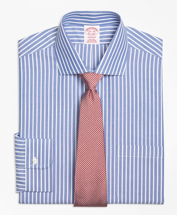 Madison Classic-Fit Dress Shirt, Non-Iron Ground Stripe Dark Blue