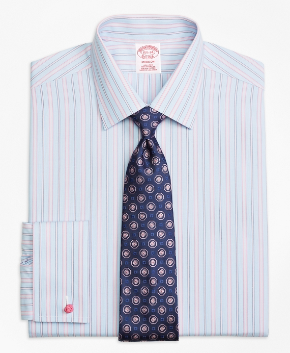 Madison Classic-Fit Dress Shirt, Non-Iron French Cuff Hairline Track Stripe Pink