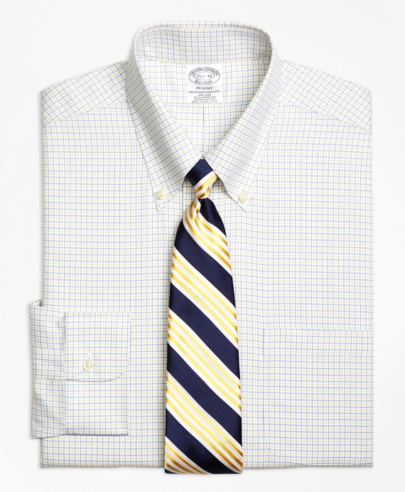 Regent Fitted Dress Shirt, Non-Iron Two-Color Tattersall BLUE