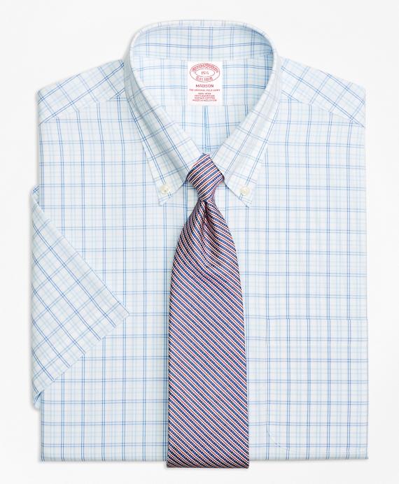 Madison Classic-Fit Dress Shirt, Non-Iron Alternating Twin Tattersall Short-Sleeve Blue