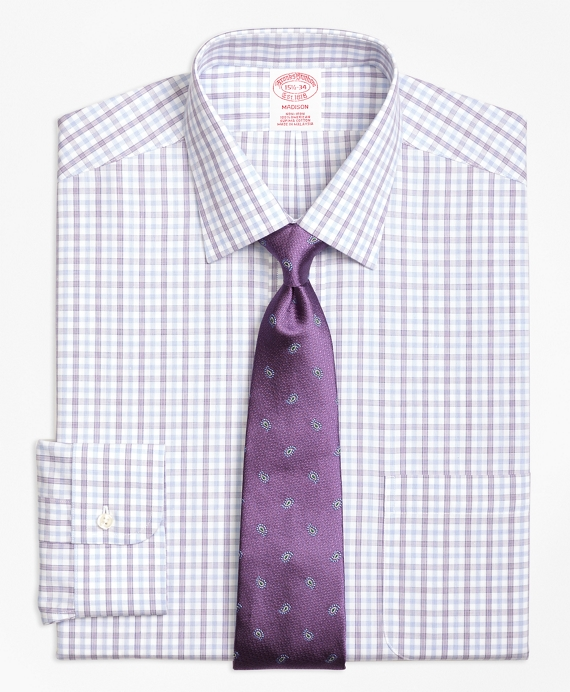 Madison Classic-Fit Dress Shirt, Non-Iron Hairline Framed Check Purple