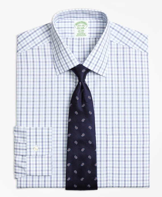 Milano Slim-Fit Dress Shirt, Non-Iron Hairline Framed Check Blue