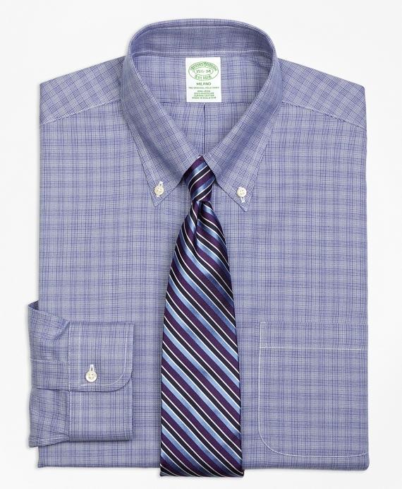 Milano Slim-Fit Dress Shirt, Non-Iron Glen Plaid Blue
