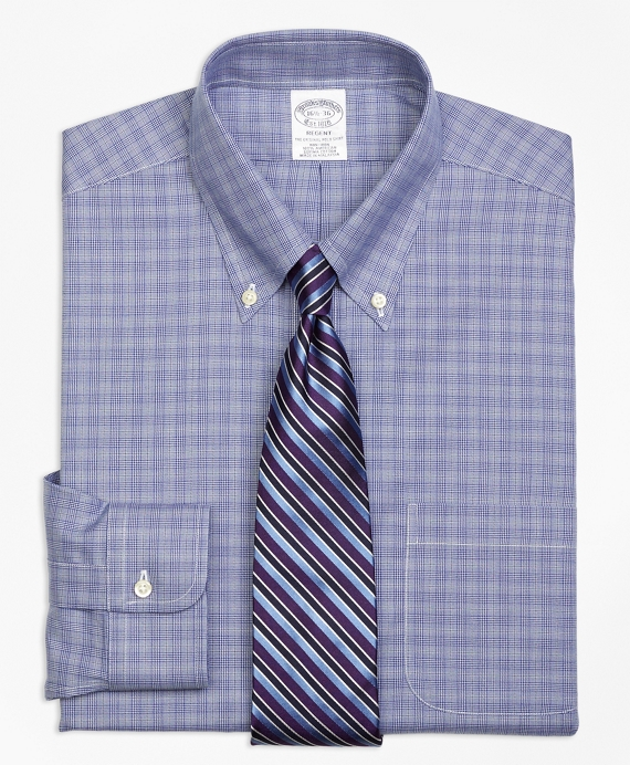 Regent Fitted Dress Shirt, Non-Iron Glen Plaid Blue