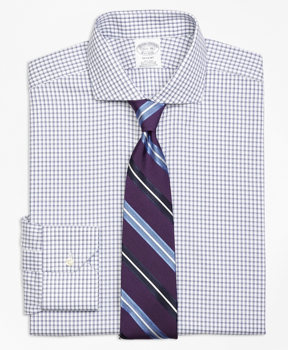 Regent Fitted Dress Shirt, Non-Iron Framed Twin Check Blue