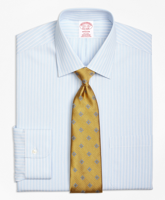 Madison Classic-Fit Dress Shirt, Non-Iron Micro Music Stripe Light Blue