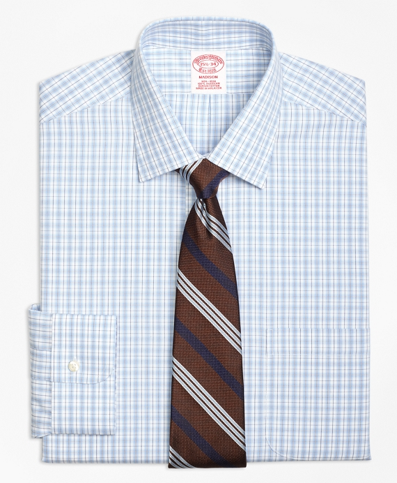 Madison Classic-Fit Dress Shirt, Non-Iron Split Check Brown