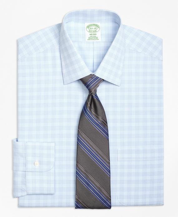 Milano Slim-Fit Dress Shirt, Non-Iron Tonal Glen Plaid Blue