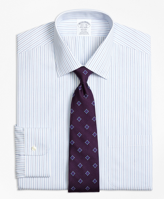 Regent Fitted Dress Shirt, Non-Iron Alternating Stripe Light Blue