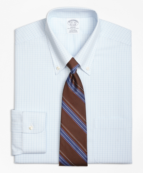 Regent Regular-Fit Dress Shirt, Non-Iron Double Tattersall Light Blue