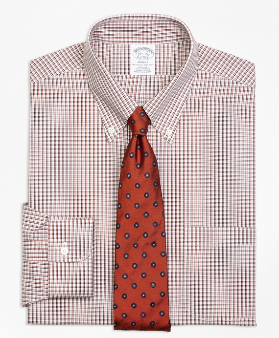 Regent Fitted Dress Shirt, Non-Iron Twin Check Orange