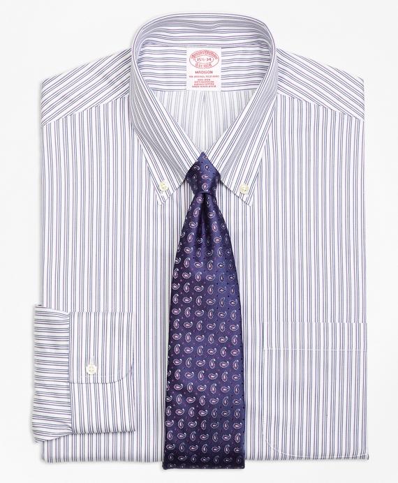 Madison Classic-Fit Dress Shirt, Non-Iron Sidewheeler Stripe Blue