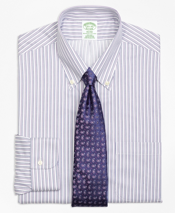 Milano Slim-Fit Dress Shirt, Non-Iron Sidewheeler Stripe Blue