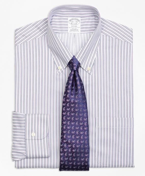 Regent Fitted Dress Shirt, Non-Iron Sidewheeler Stripe Blue