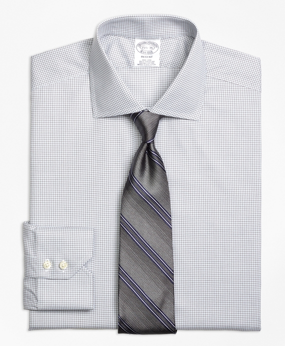 Regent Fitted Dress Shirt, Non-Iron Micro Check Grey