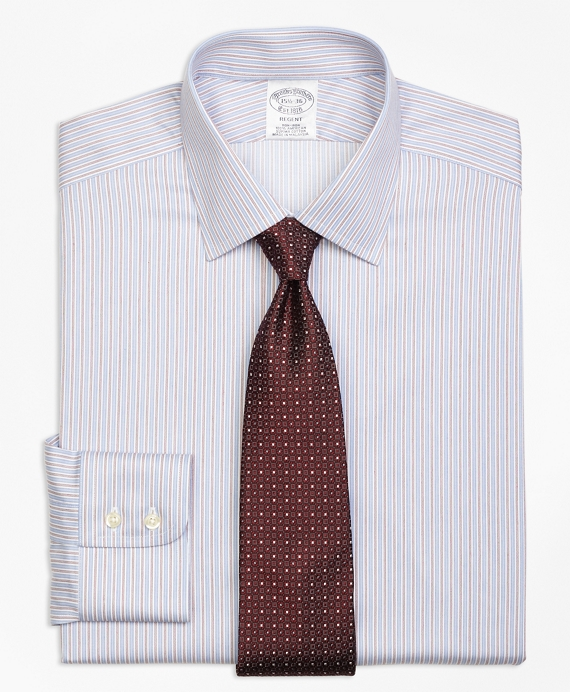 Regent Fitted Dress Shirt, Non-Iron Alternating Split Stripe Blue