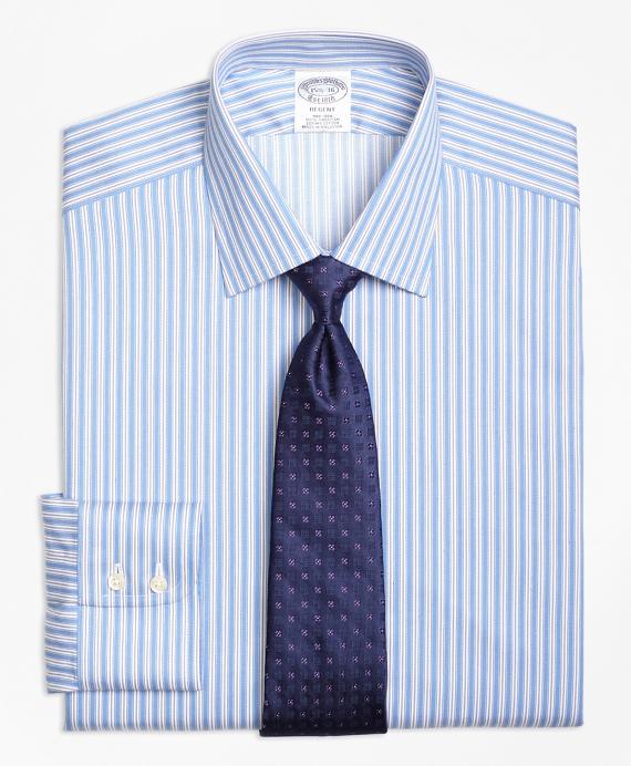 Regent Regular-Fit Dress Shirt, Non-Iron Split Stripe Blue