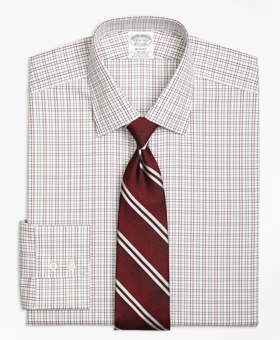 Regent Fitted Dress Shirt, Non-Iron Twin Check Burgundy
