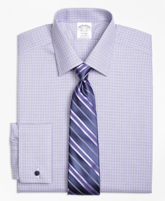 Regent Fitted Dress Shirt, Non-Iron French Cuff Double Windowpane Purple