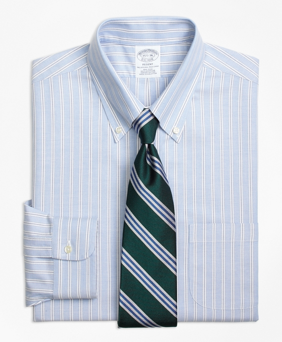 Regent Fitted Dress Shirt, Non-Iron Split Stripe Blue