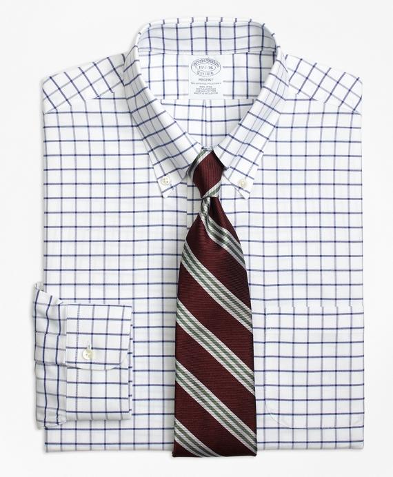 Regent Fitted Dress Shirt, Non-Iron Tattersall Blue
