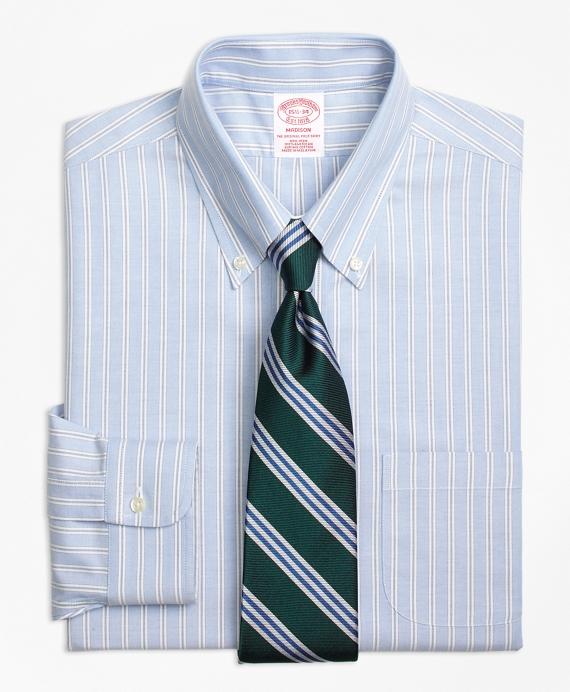 Madison Classic-Fit Dress Shirt, Non-Iron Split Stripe Blue