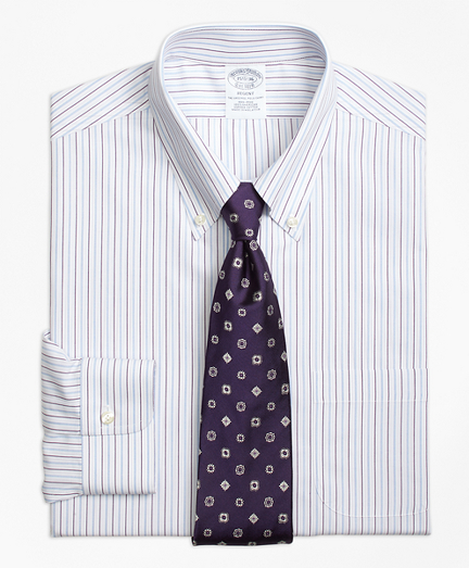 Non-Iron Regent Fit End-on-End Stripe Dress Shirt