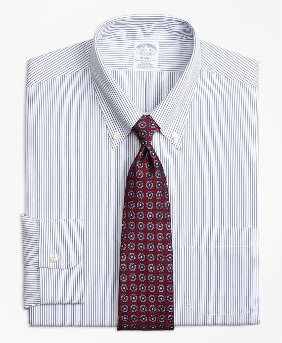 Regent Fitted Dress Shirt, Non-Iron Pinstripe Blue