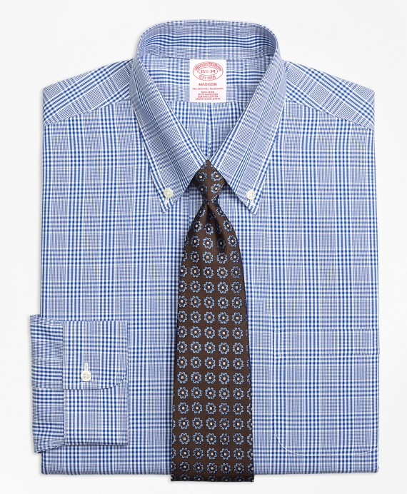 Madison Classic-Fit Dress Shirt, Non-Iron Glen Plaid Blue