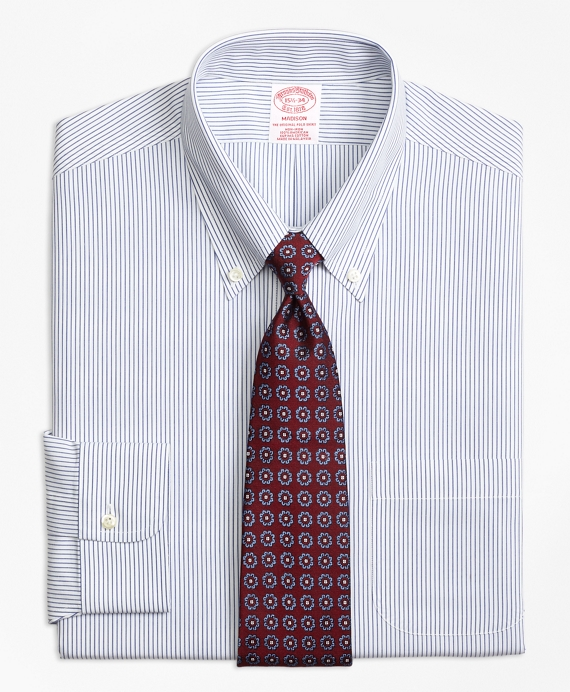 Madison Classic-Fit Dress Shirt, Non-Iron Pinstripe Blue