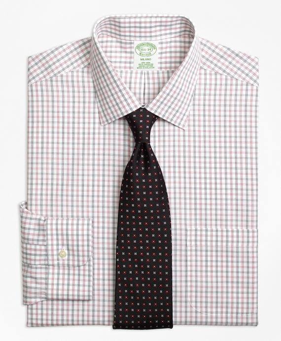 Milano Slim-Fit Dress Shirt, Non-Iron Triple Shadow Check Red