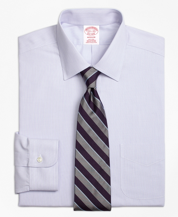 Madison Classic-Fit Dress Shirt, Non-Iron Hairline Stripe Purple