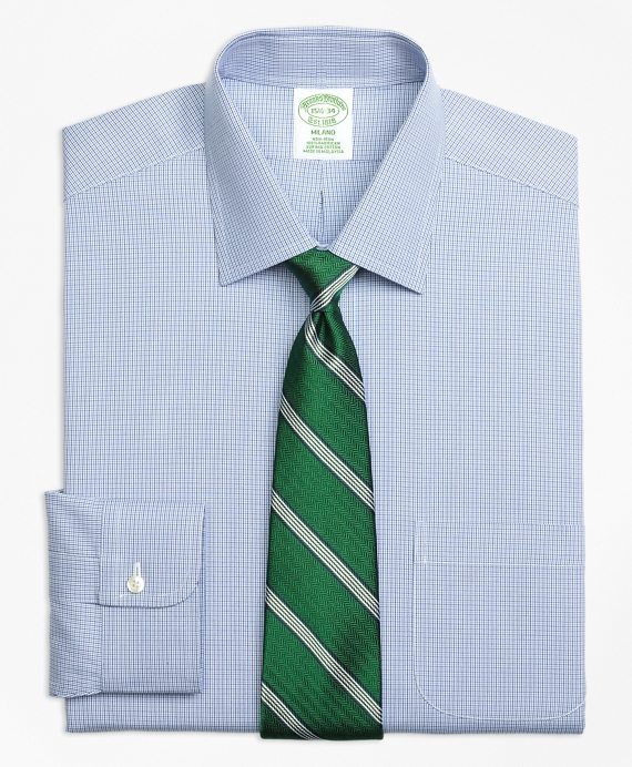 Milano Slim-Fit Dress Shirt, Non-Iron Two-Tone Houndstooth Blue