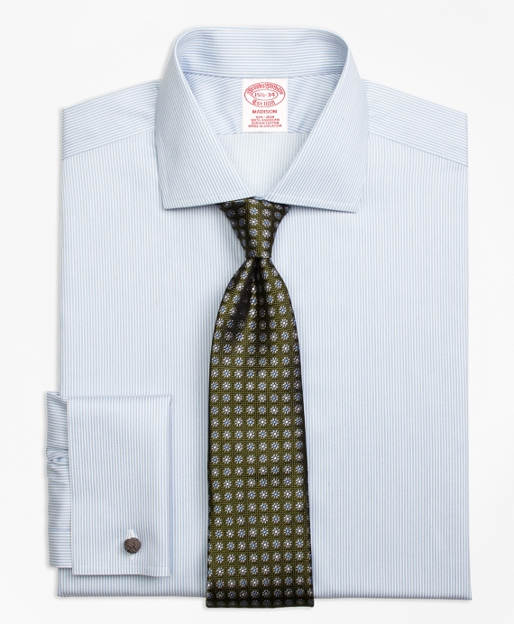 Madison Classic-Fit Dress Shirt, Non-Iron French Cuff Framed Stripe Light Blue