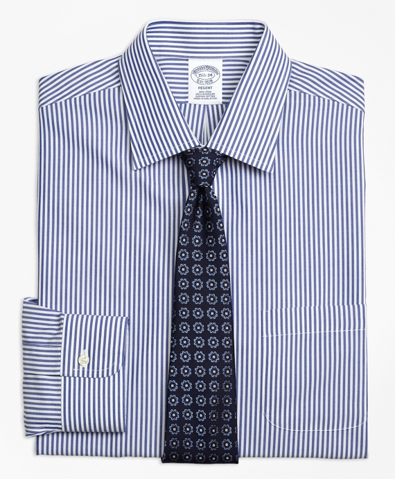 Regent Fitted Dress Shirt, Non-Iron Bengal Stripe Blue