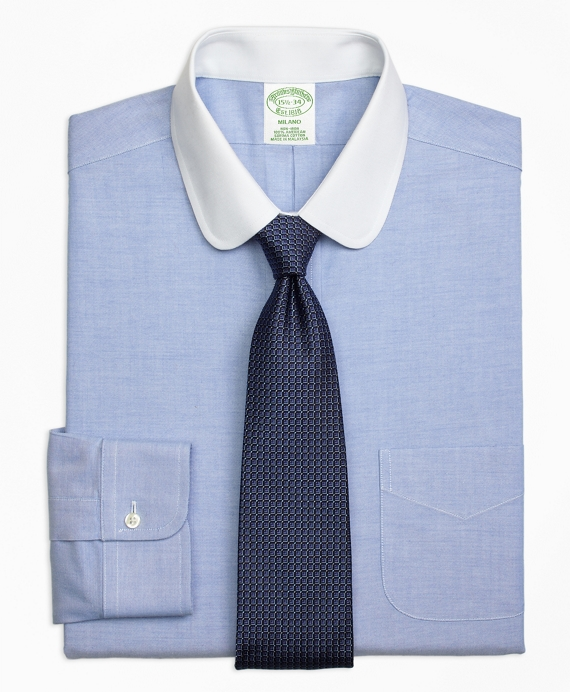 Milano Slim-Fit Dress Shirt, Non-Iron Contrast Golf Collar Blue