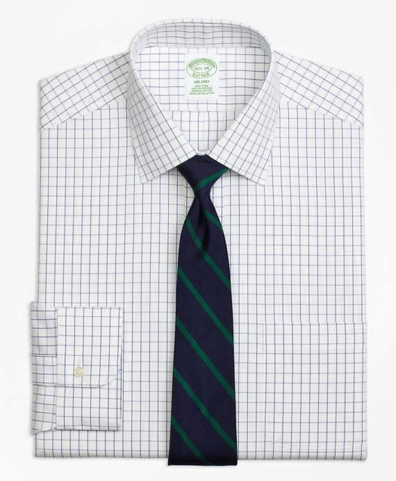 Milano Slim-Fit Dress Shirt, Non-Iron Windowpane Blue