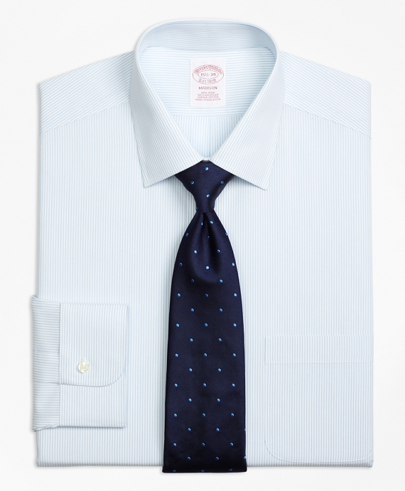 Madison Relaxed-Fit Dress Shirt, Non-Iron Mini Pinstripe Light Blue
