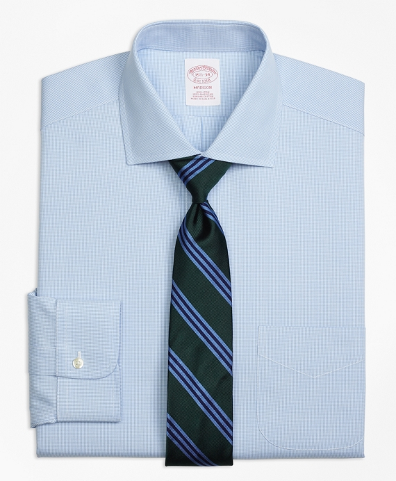 Madison Classic-Fit Dress Shirt, Non-Iron Houndstooth Light Blue