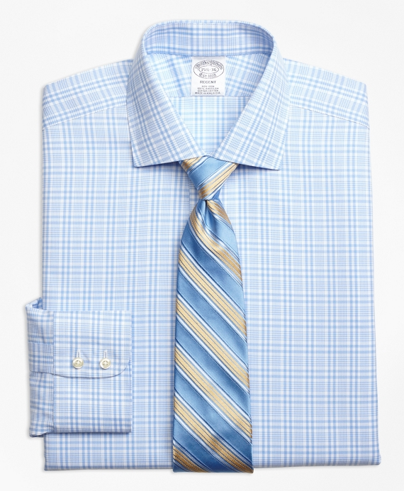 Regent Fitted Dress Shirt, Non-Iron Glen Plaid Light Blue