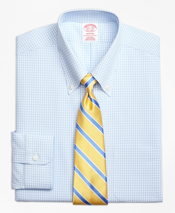 Madison Classic-Fit Dress Shirt, Non-Iron Dobby Gingham Light Blue
