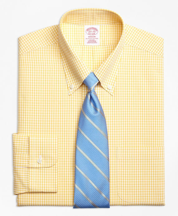 Madison Relaxed-Fit Dress Shirt, Non-Iron Dobby Gingham Yellow