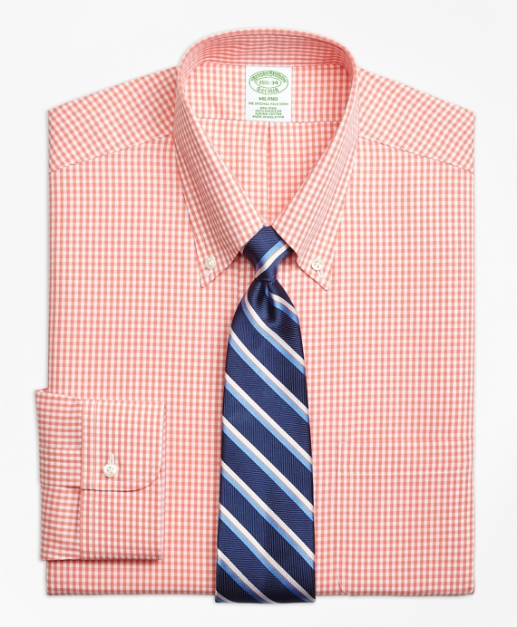 Milano Slim-Fit Dress Shirt, Non-Iron Dobby Gingham Orange