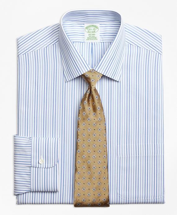 Milano Slim-Fit Dress Shirt, Non-Iron Alternating Framed Stripe Blue