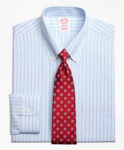 Non-Iron Madison Fit Twin Hairline Stripe Dress Shirt