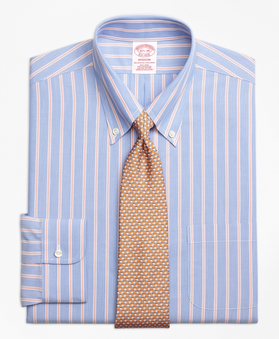Madison Classic-Fit Dress Shirt, Non-Iron Hairline Twin Stripe Blue