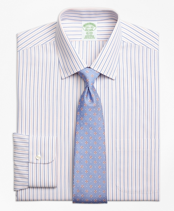 Milano Slim-Fit Dress Shirt, Non-Iron End-on-End Alternating Stripe Blue-Coral
