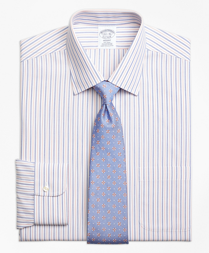 Non-Iron Regent Fit End-on-End Alternating Stripe Dress Shirt