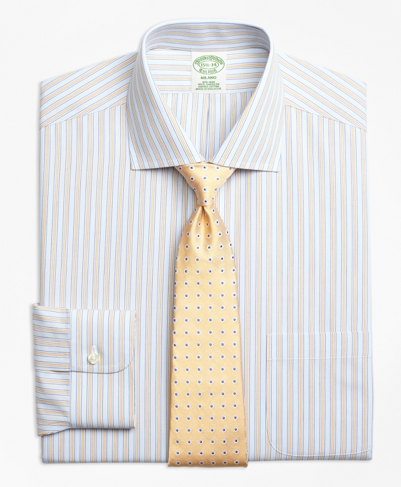 Milano Slim-Fit Dress Shirts, Non-Iron Framed Track Stripe Yellow