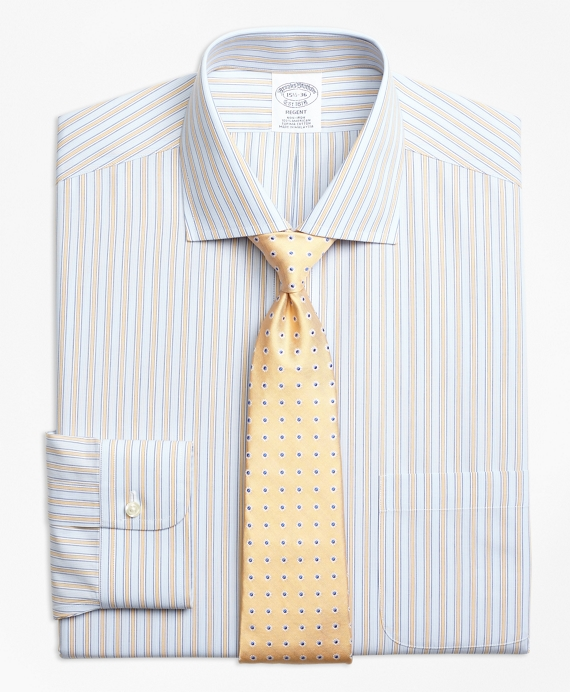 Regent Regular-Fit Dress Shirt, Non-Iron Framed Track Stripe Yellow